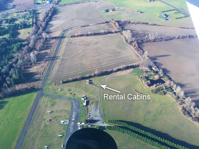 Rental Cabin at Sequim Valley Airport from air