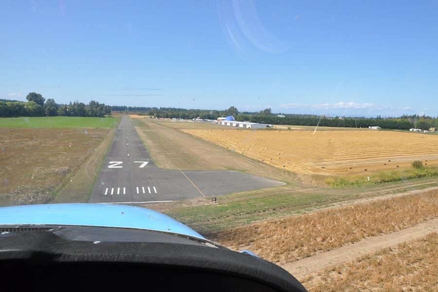 coming in to land at Sequim Airport